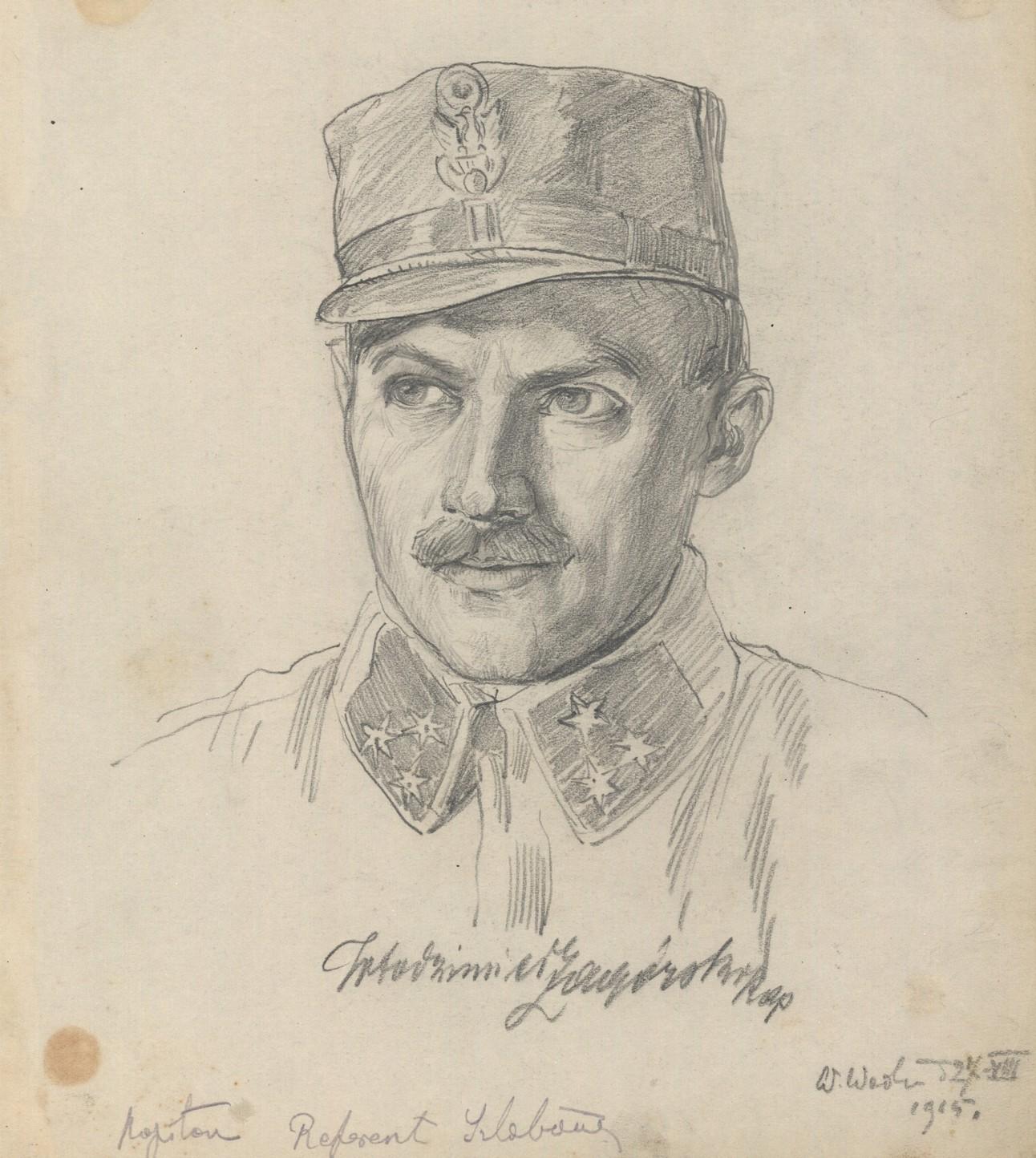 Włodzimierz Zagórski zaginął w drodze na spotkanie z Marszałkiem. Uznano go za dezertera. Rysunek ołówkiem z 1915 roku, wykonany przez Wincentego Wodzinowskiego.