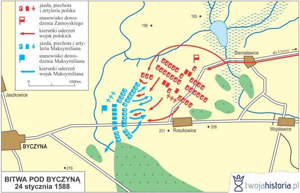 Bitwa pod Byczyną 24 stycznia 1588 (ryc. Daniel Malak/TwojaHistoria.pl).