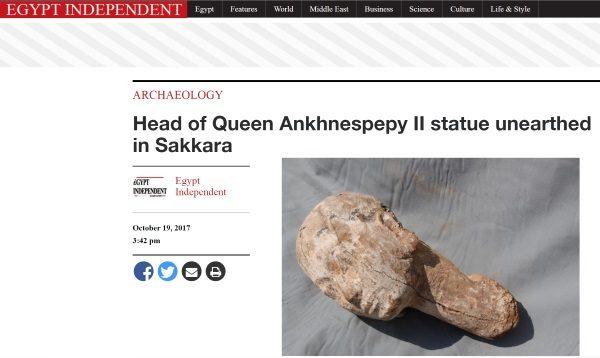 """O odkryciu francusko-szwajcarskiej misji archeologicznej piszą duże egipskie media. (Screen ze strony """"Egypt Independent"""")."""