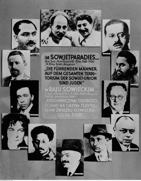 Plakat promujący antysemicką wystawę zorganizowaną przez władze okupacyjne.