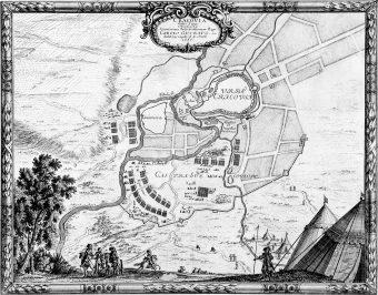 Plan oblężenia Krakowa z 1655 roku.