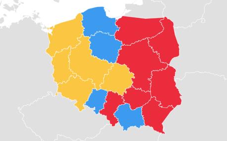 Kto jest najpopularniejszy w poszczególnych województwach? Łokietek na niebiesko, Chrobry na żółto, Kazimierz na czerwono.