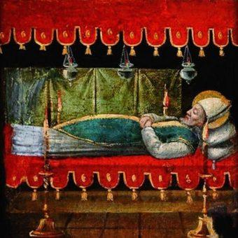 Otwarty sarkofag świętego Mikołaja na XV-wiecznym francuskim obrazie.