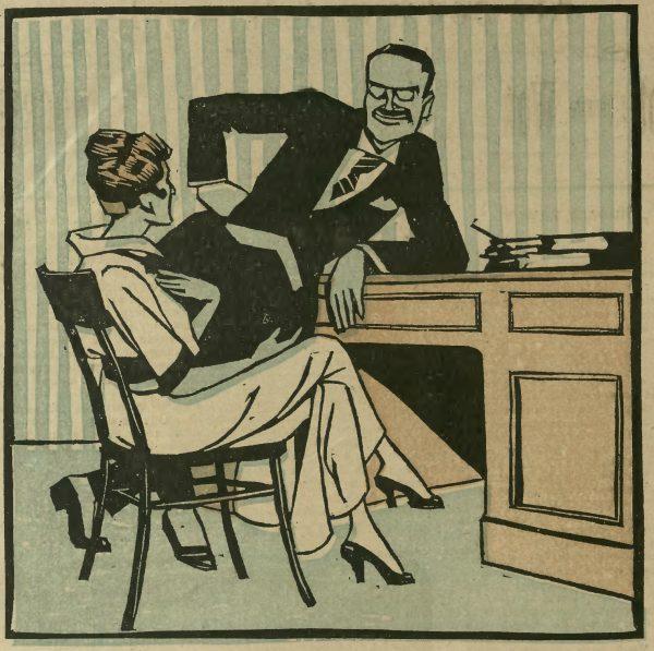 Urzędniczka i jej szef. Ilustracja z pisma satyrycznego Sowizdrzał, 1919 rok.