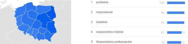 Stanisław August Poniatowski. Popularność według województw.
