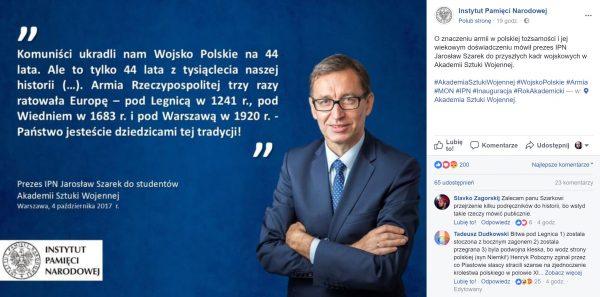 Post zachwalający wypowiedź prezesa Szarka wraz z fragmentem poświęconej mu dyskusji. Grafikę umieszczono na oficjalnym profilu Instytut Pamięci Narodowej.