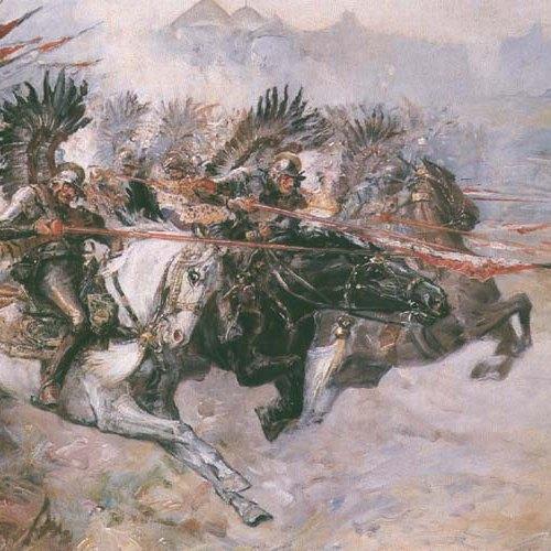 """""""Szarża husarii"""", obraz Stanisława Batowskiego Kaczora"""
