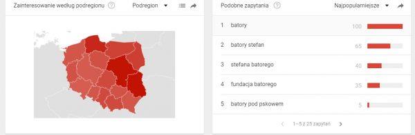 Stefan Batory. Zainteresowanie według województw.