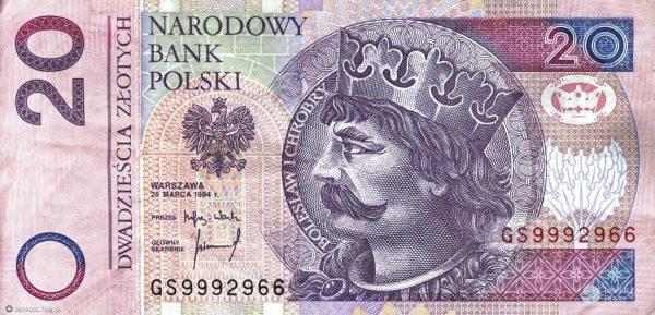 Najbardziej rozpowszechnionych wyobrażeniem Chrobrego jest to znajdujące się na banknocie dwudziestozłotowym.