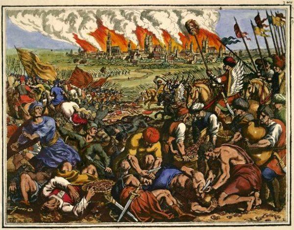 """""""Wielka klęska chrześcijan pobitych przez Tatarów"""". Miedzioryt Matthäusa Meriana Starszego z 1630 roku."""