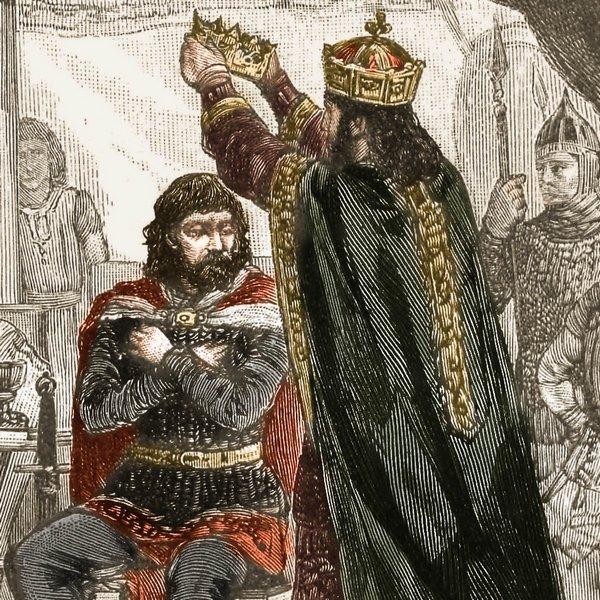 Przez wieki uważano, że koronacja Chrobrego miała miejsce w czasie Zjazdu Gnieźnieńskiego. Czy tak było w rzeczywistości? Na ilustracji XIX-wieczna rycina Ksawerego Pillatiego.