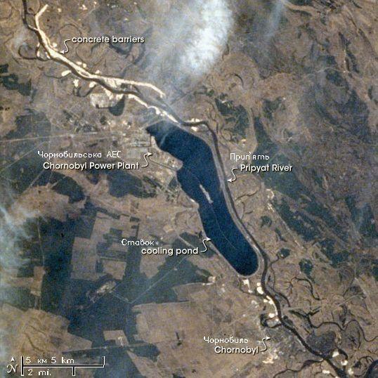 Obszar wokół elektrowni jądrowej w Czarnobylu widziany z rosyjskiej stacji orbitalnej Mir.