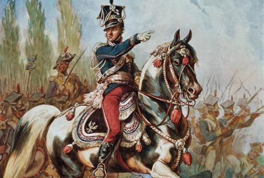 Generał Jan Henryk Dąbrowski na czele Legionów. Akwarela Juliusza Kossaka z 1882 roku