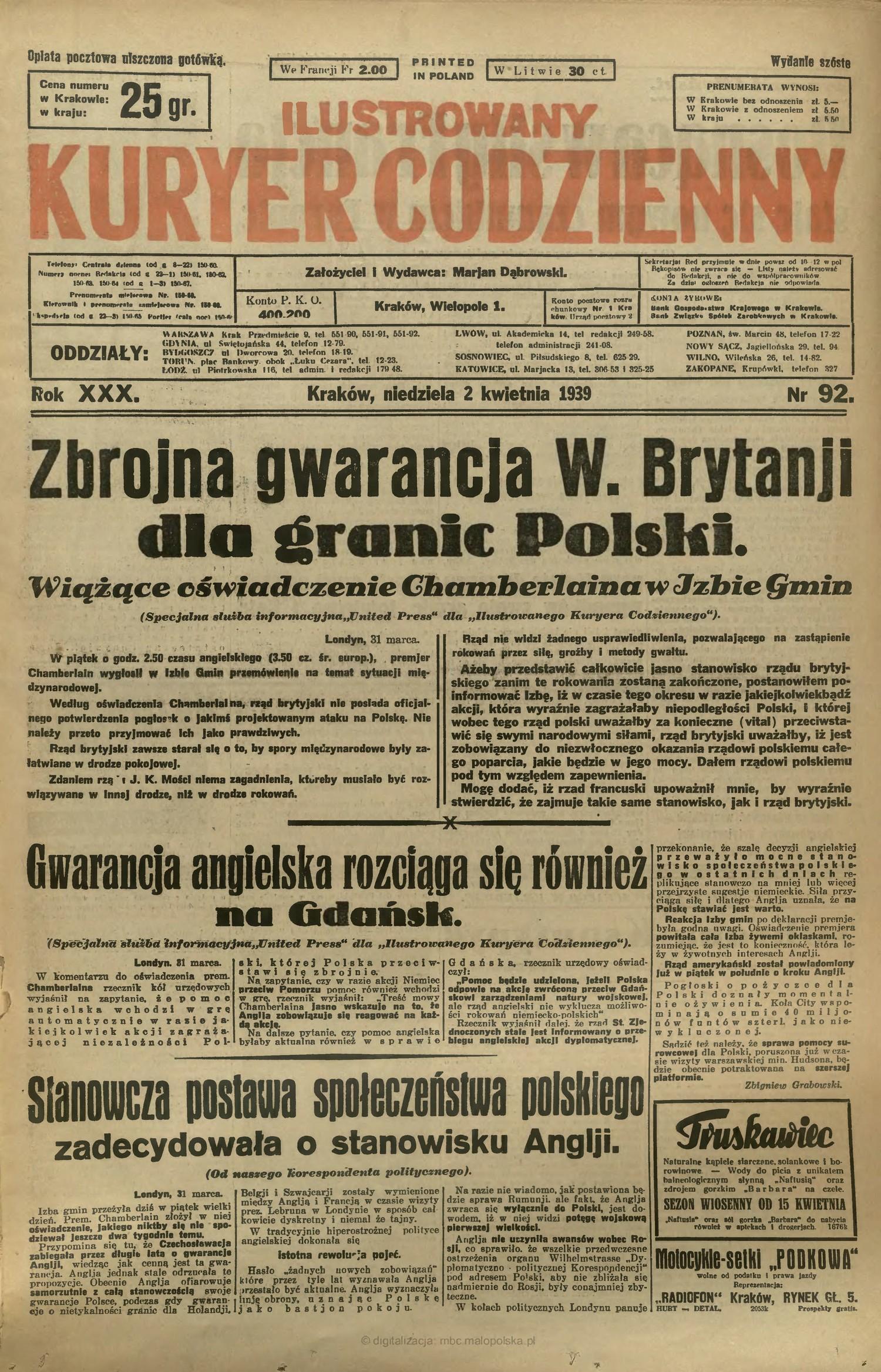 """Strona tytułowa """"Ilustrowanego Kuryera Codziennego"""" z informacją o angielskich gwarancjach dla Polski. Kliknij, aby powiększyć."""