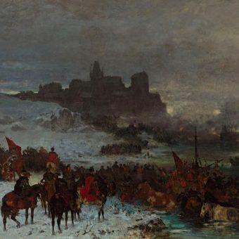 """Fragment obrazu Józefa Brandt, zatytułowanego """"Czarniecki pod Koldyngą""""."""