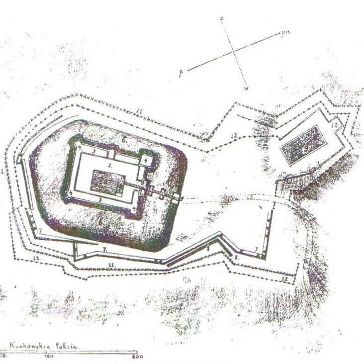 Plan zamku lanckorońskiego wykonany z czasów konfederacji barskiej