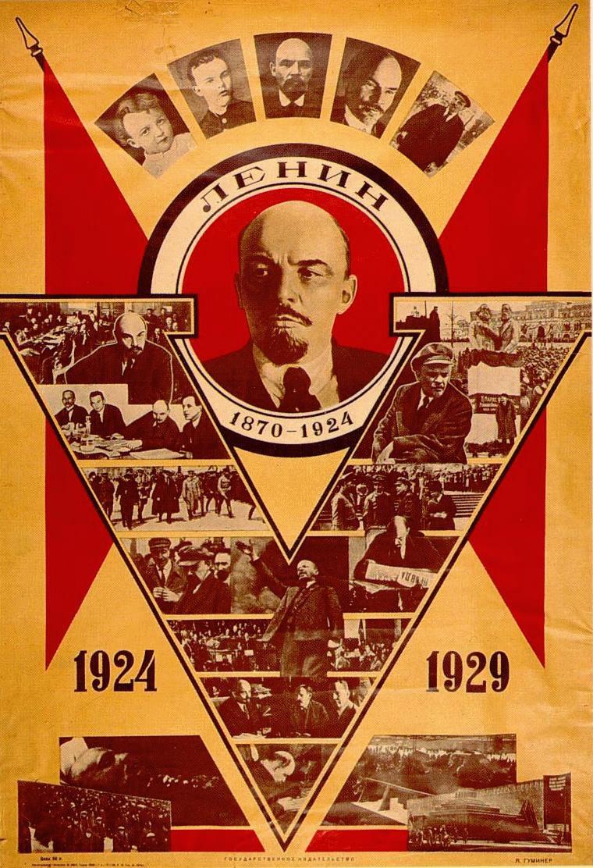 Włodzimierz Lenin na radzieckim plakacie z okazji piątej rocznicy jego śmierci.