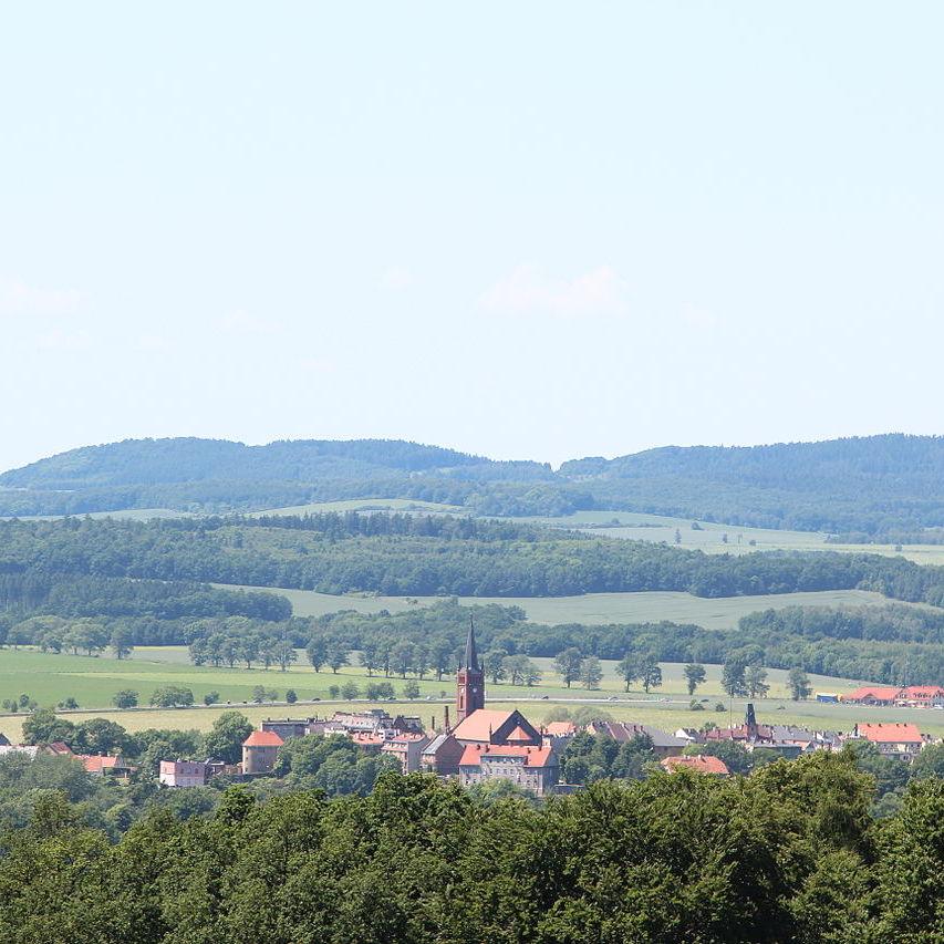 Widok Niemczy z Arboretum w Wojsławicach
