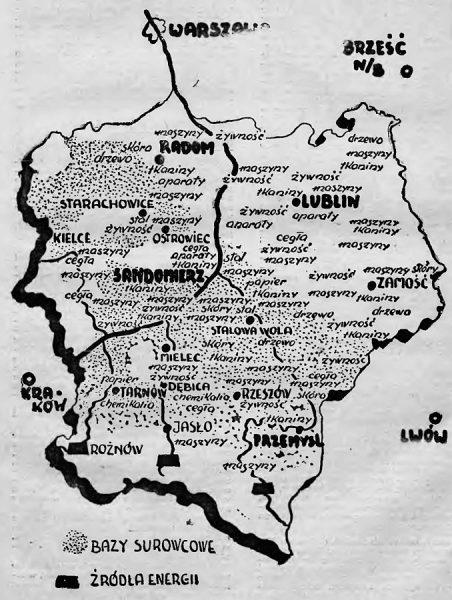 Plan Centralnego Okręgu Przemysłowego opublikowany w 1938 roku w Ilustrowanym Kalendarzu Słowa Pomorskiego