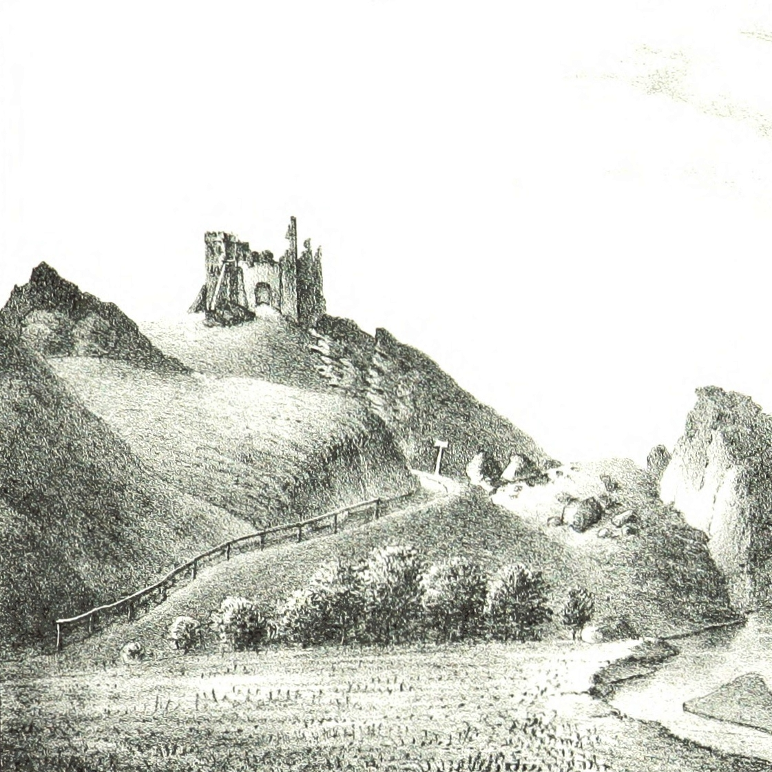 Ruiny zamku w Czorsztynie na rysunku Kajetana Jabłońskiego z 1847 roku.
