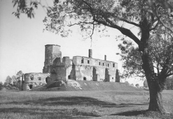 Ruiny zamku w Siewierzu. Zdjęcie autorstwa Henryka Poddębskiego, dostępne w zbiorach Narodowego Archiwum Cyfrowego.