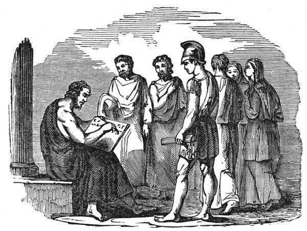 Solon spisuje ateńskie prawa. Rycina z połowy XIX wieku