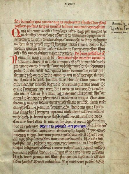 Strona z księgi henrykowskiej z zaznaczonym (na niebiesko) najstarszym polskim zdaniem.