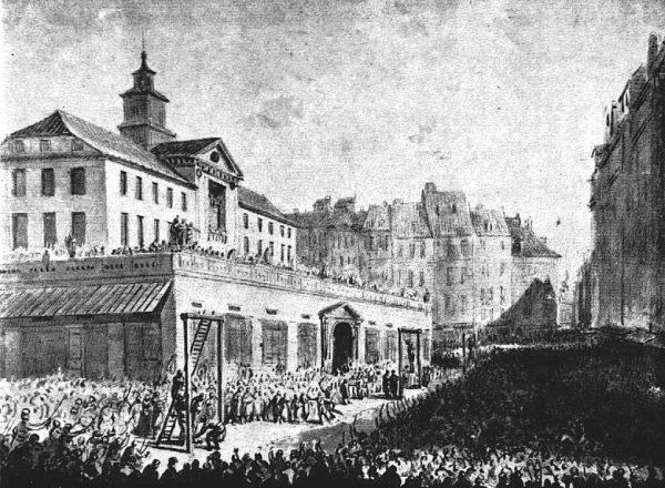Wieszanie zdrajców na Rynku Starego Miasta w Warszawie. 1794 rok