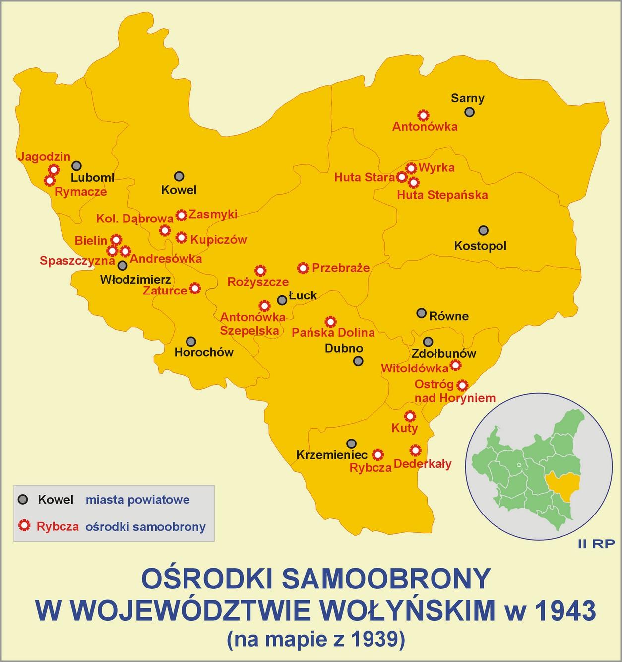 Ośrodki samoobrony w województwie wołyńskim 1943 roku. Stara Huta znajdowała się w powiecie kostopolskim.