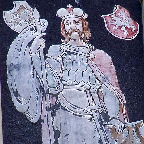 Współczesny mural przedstawiający Władysława I Przemyślidę