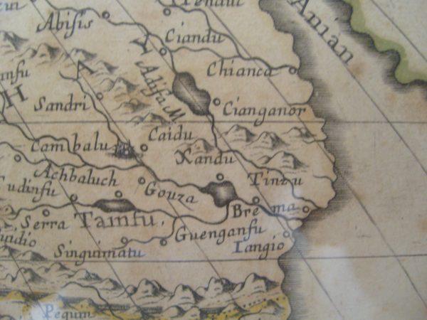 """Marco Polo nazwę miasta Xanadu zapisywał """"Ciandu"""". Tak też miasto pojawiło się na mapie stworzonej przez Sansona d'Abeville, pochodzącej z 1650 roku."""