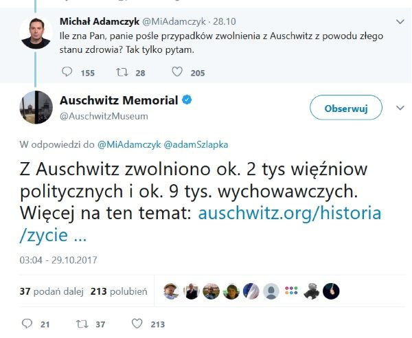 Screen z konta Twitter Michała Adamczyka.