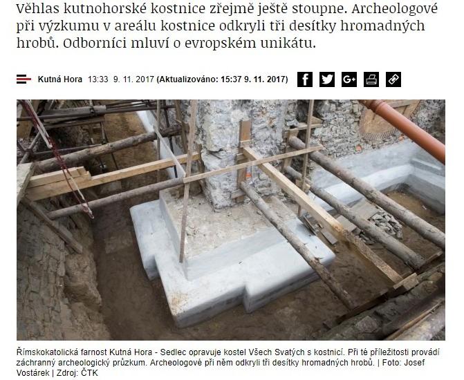 Kutnohoskie stanowisko archeologiczne. Screen ze strony iRozhlas.cz.