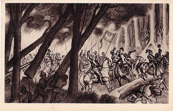 """""""Klęska króla Olbrachta w lasach bukowińskich"""". Ilustracja W. Boratyńskiego."""