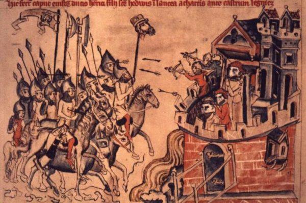 """Bitwa pod Legnicą na miniaturze z tak zwanego """"Kodeksu Jadwigi"""". Połowa XIV wieku."""