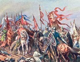 Bitwa pod Płowcami. Grafika z albumu jubileuszowego, początek XX wieku.