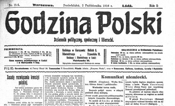 """""""Godzina Polski"""". Pierwsza strona numeru z 2 października 1916 roku. Tradycyjnie przyjmuje się, że właśnie to czasopismo dało początek prześmiewczej nazwie """"gadzinówka"""". Termin ma jednak o wiele głębsze korzenie."""