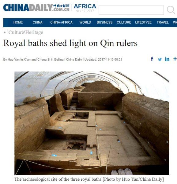 """Zrzut ekranu z artykułem """"China Daily"""" przedstawiającym miejsce wykopalisk."""