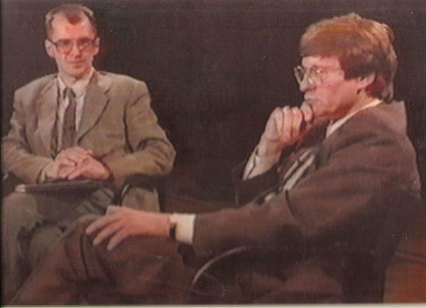 Leszek Balcerowicz w Studiu Nowej Telewizji Warszawa. 1993 rok.