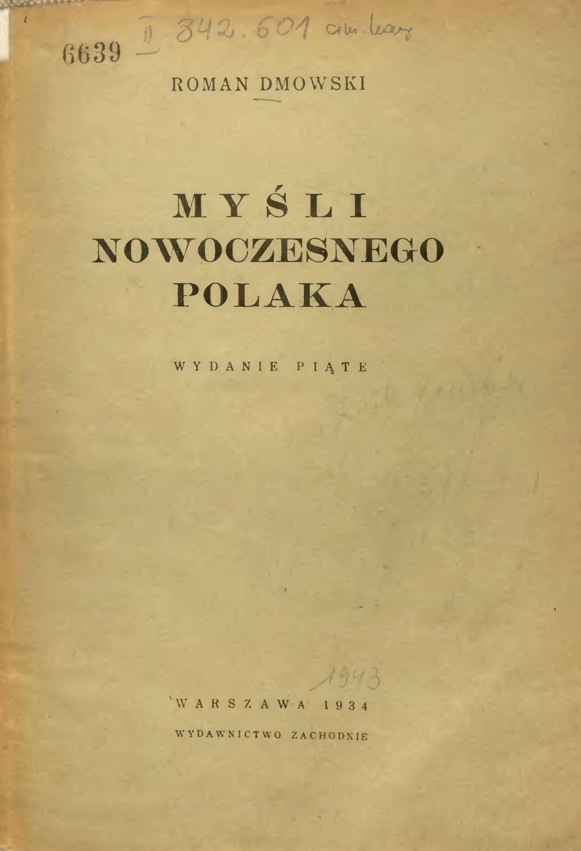 """""""Myśli nowoczesnego Polaka"""". Okładka wydania z 1934 roku."""