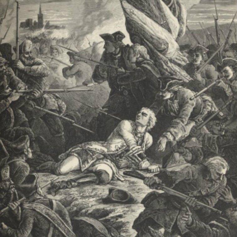 Śmierć hrabiego Plelo, francuskiego ambasadora w Kopenhadze, z rąk rosyjskich podczas oblężenia Gdańska. Obraz Paula Philippoteaux z 1923 roku.
