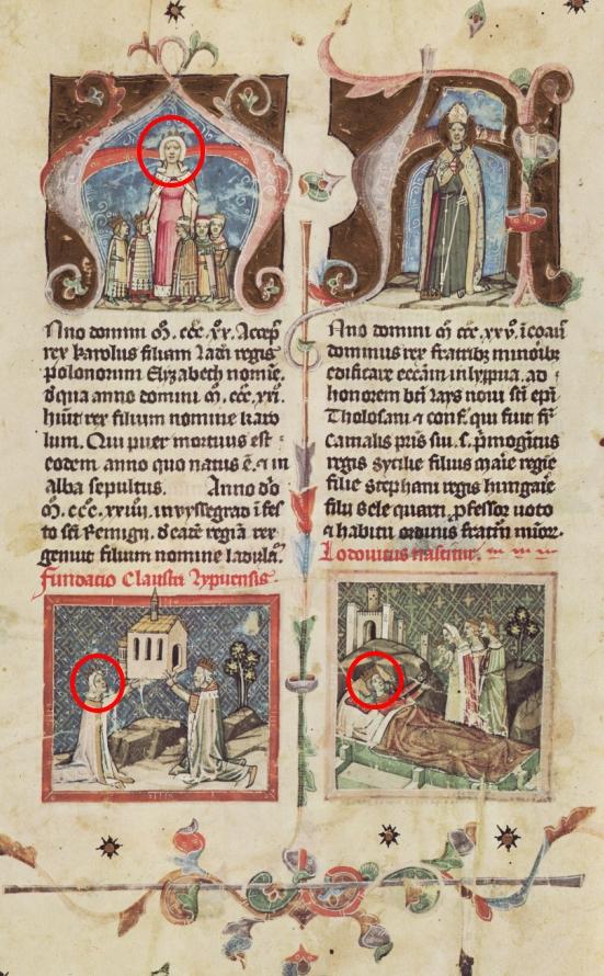 """Większość znanych wizerunków Elżbiety Łokietkówny pochodzi z tak zwanej """"Kroniki Ilustrowanej"""". Powyżej karta kodeksu z trzema spośród nich."""