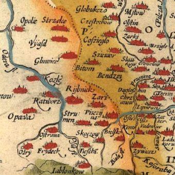 Siewierz jako Szewior na mapie z XVI wieku.