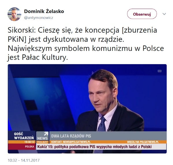 Internauci udostępniają wypowiedź Radosława Sikorskiego na Twitterze.