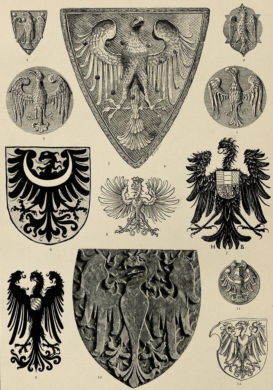 "Warianty heraldyczne orła. Hugo Gerhard Ströhl, ""Heraldischer Atlas"", Stuttgart 1899."
