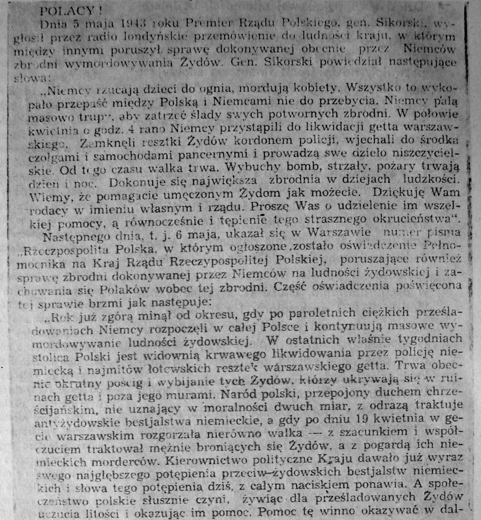 Fragment ulotki wydanej w Warszawie w maju 1943 roku z apelem Władysława Sikorskiego o pomoc Żydom oraz potępieniem Polaków pomagającym Niemcom.