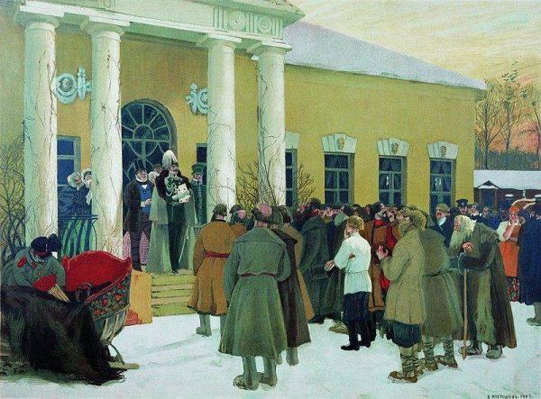 Wyzwolenie chłopów w 1861 roku wcale nie rozwiązało problemów społecznych w Rosji. Czytający proklamację (ilustracja autorstwa Borisa Kustodiewa) nie przeczuwali, że ok. 55 lat później carska Rosja zmieni się w Rosję bolszewicką.