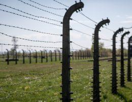 Fragment ogrodzenia Auschwitz na współczesnej fotografii.