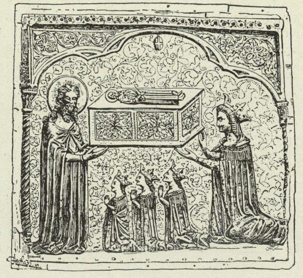 Elżbieta Bośniaczka wraz z córkami. Płaskorzeźba przedstawiająca żonę i trzy latorośle Ludwika Węgierskiego.