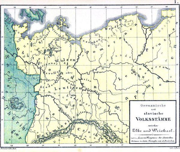 """W najgorszej sytuacji znajdowali się Słowianie zachodni, którzy padali ofiarą zakusów zarówno strony polskiej, jak i niemieckiej. Mapa ukazuje tę właśnie """"wrażliwą"""" granicę między plemionami Germanów i Słowianami."""